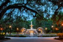 Oaks Framing Forsyth Park Fountain In Savannah At Dusk