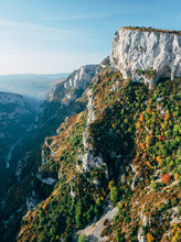 Rocky Cliffs And Autumn Colours In The Steep Verdon Gorge, France