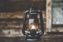 Black Oil Lamp In The Village.