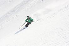 Male Skier Freeriding Downhill...