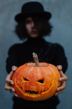 Woman With Traditional Halloween Decoration