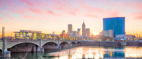 obraz PCV Downtown Indianapolis skyline at twilight