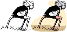 A Cartoon Of An Ostrich With Its Head Buried In The Sand.