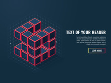 Abstract Icon Of Digital Cubes, Concept Of Compilation Of A Software Product, Isometric Vector