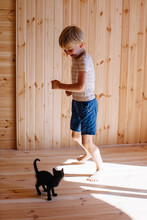 Little Adorable Boy Playing Wi...