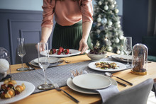 Woman Serving Food Ad Dinner