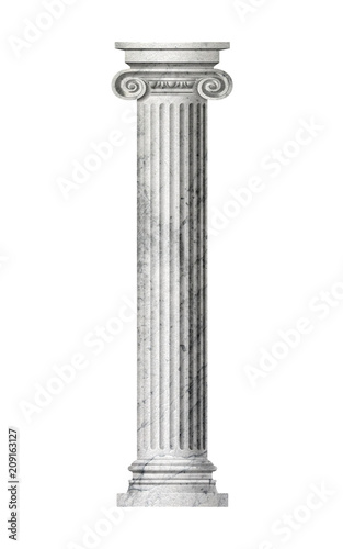 Photo Object Roman column on a white background . 3D rendering.