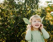 Little Girl Holding Lamb's Ears Leaves Soon Her Ears