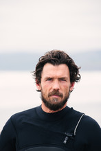 Surfer Portrait, On Beach, New Zealand.