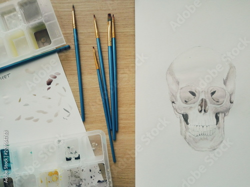 Poster Crâne aquarelle Skull watercolor in progress