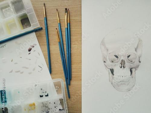 Foto auf AluDibond Aquarell Schädel Skull watercolor in progress