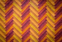 Orange,yellow And Red Carpet With Hand Made Geometric Pattern