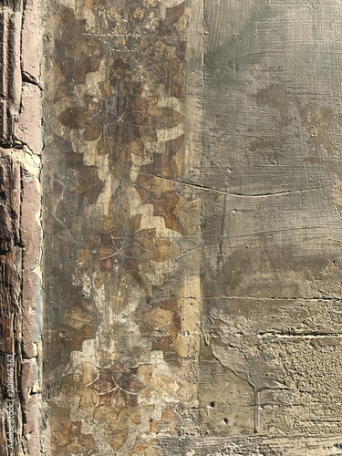 Detail of old building wall and peeling paint, Barcelona, Spain