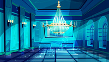 Ballroom In Night Vector Illus...