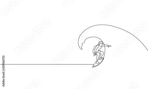 Annabella 67 Art Line Design : Single continuous one line art surfer vacation sea wave