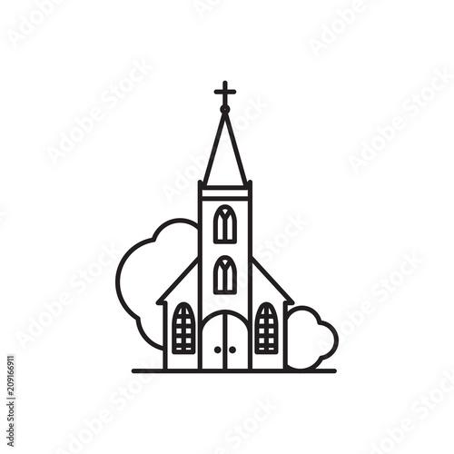 Obraz Beautiful church logo line art - fototapety do salonu