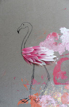 Flamingo Made Of Flower Petals On Painted Cardboard