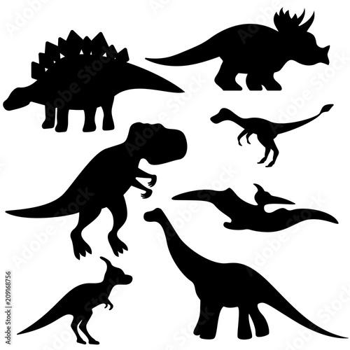 Dinosaurus silhouettes set Canvas Print