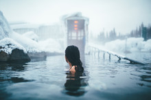 Woman In Alaskan Hotsprings