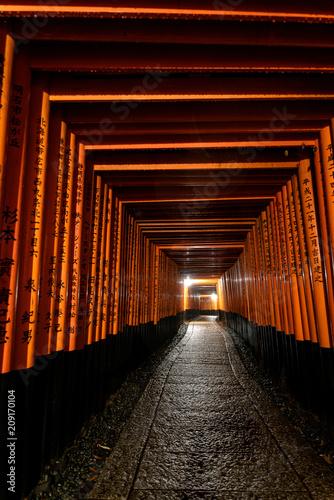 Poster Kyoto Fushimi inari taisha torii shinto gates path the night