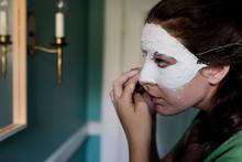 Teen Girl Creating A Mask/masq...