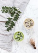 Flat Lay Of Iced Green Tea And Roasted Green Tea Drink