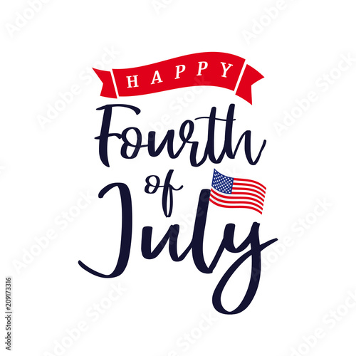 Fotografía  Happy 4th of July, Independence Day of USA lettering design