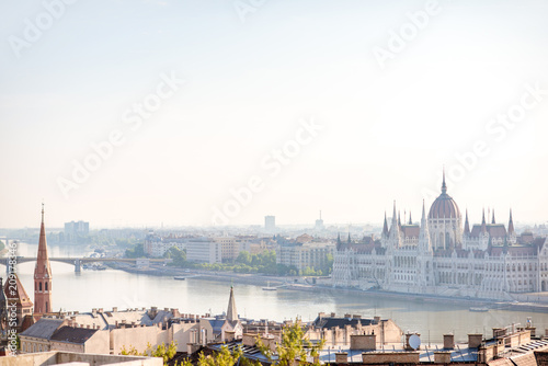 Fotobehang Centraal Europa Cityscape view on the Budapest city with famous parliament building during the daylight in Hungary