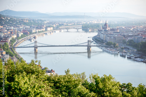 Fotobehang Centraal Europa Aerial view on Budapest city with Chain bridge on Danube river and Parliament building during the morning light in Hungary