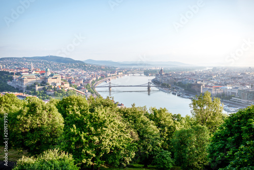 Fotobehang Centraal Europa Panoramic aerial view on Budapest city with Danube river during the morning light in Hungary