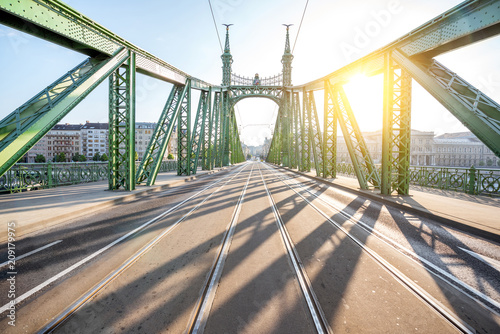 Fotobehang Centraal Europa Geometrical view on the famous Liberty bridge during the sunrise in Budapest, Hungary