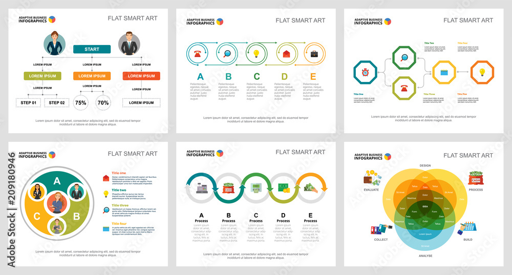 Fototapeta Colorful planning and strategy concept infographic charts set. Business design elements for presentation slide templates. For corporate report, advertising, leaflet layout and poster design.