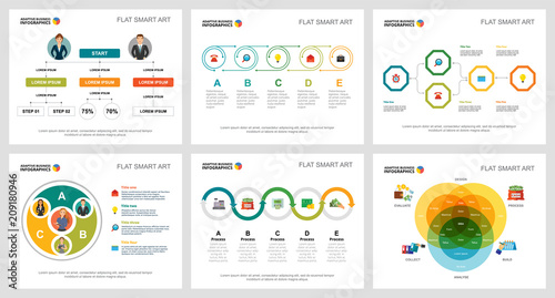 Fototapeta Colorful planning and strategy concept infographic charts set
