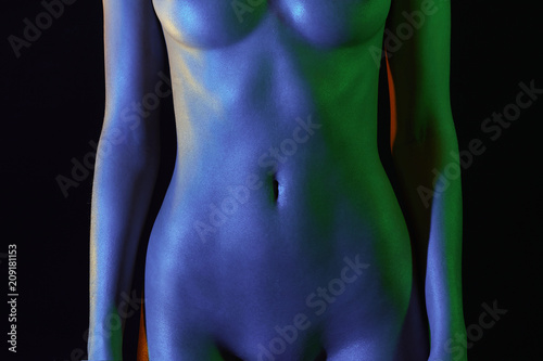 Poster Akt female stomach and chest, plastic surgery. Nude Woman