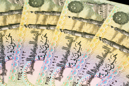 Colorful Egyptian currency and bank notes shot close up Canvas Print