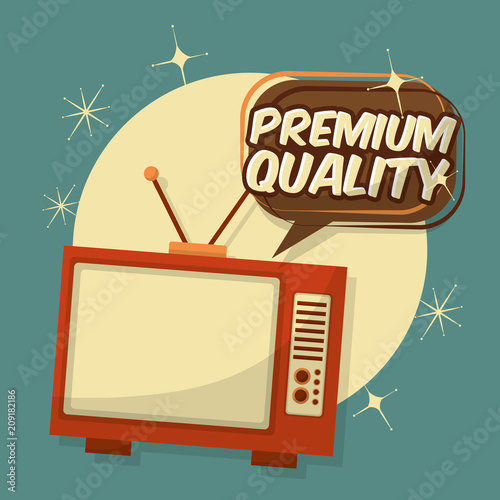 Canvas Print retro vintage television premium quality speech bubble vector illustration