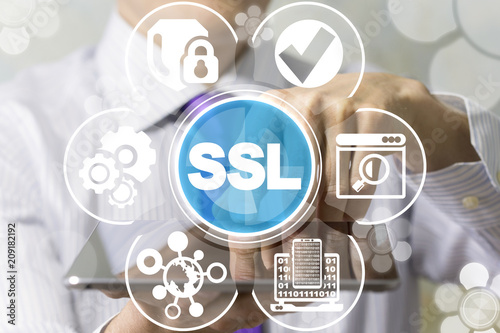 SSL Secure Encryption Connection concept. Security Web Communication. Encrypted Internet Technology.