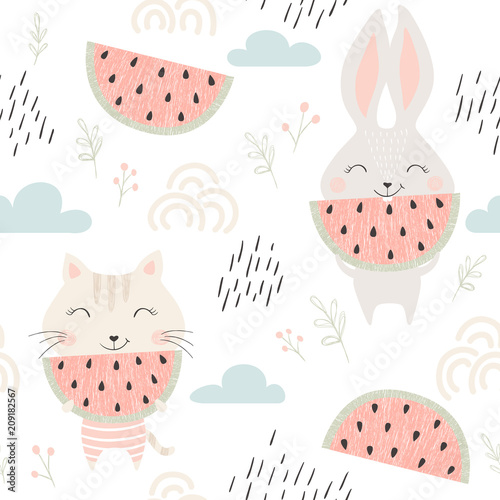 Cotton fabric Kitty and bunny seamless pattern