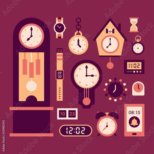 Fototapeta various kind of clock icon vector flat graphic design illustration set  obraz