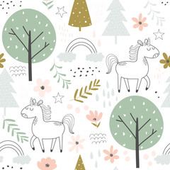 Tapeta Seamless pattern with unicorns