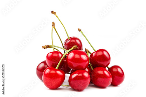 Fruits of a sweet cherry on white background.