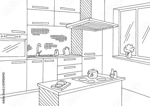 Kitchen Room Graphic Black White Home Interior Sketch Illustration