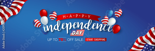 Láminas  Independence day USA sale promotion advertising banner template american balloons flag decor