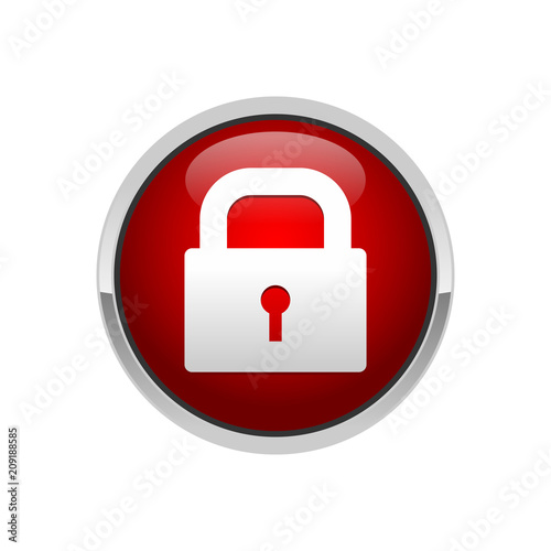 Obraz na plátně 3D Padlock Red Button Security Locked Symbol Design