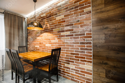 Dark Brown Modern Kitchen Interior Brick Wall And Ceiling Lamp Grunge Retro Vintage Interior Buy This Stock Photo And Explore Similar Images At Adobe Stock Adobe Stock