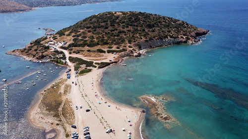 Aerial drone bird's eye view of iconic beach and small islet of Agios Nikolaos, Canvas Print