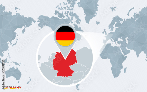 World map centered on America with magnified Germany. – kaufen Sie ...