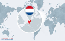 World Map Centered On America With Magnified Netherlands.
