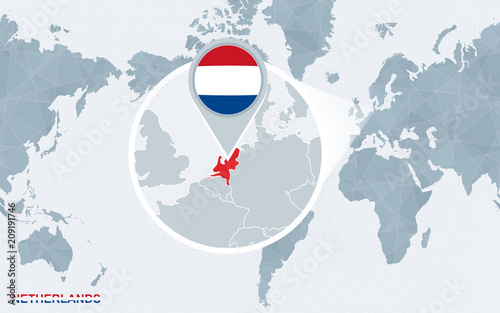 World map centered on America with magnified Netherlands ...