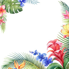 Fototapeta Na meble Watercolor vector card with tropical leaves and bright exotic flowers isolated on white background.